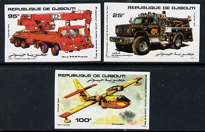 Djibouti 1984 Fire Fighting imperf set of 3 (Fire engine, crane & Aircraft) as SG 929-31