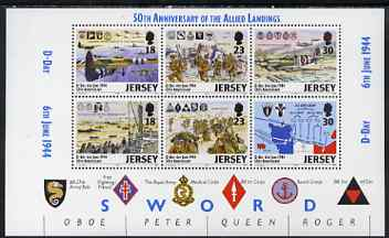 Jersey 1994 50th Anniversary of D-Day perf booklet pane containing set of 6 unmounted mint SG 659b