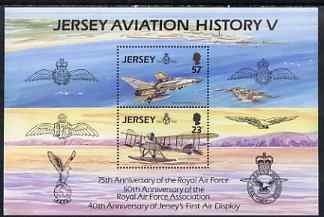 Jersey 1993 75th Anniversary of Royal Air Force perf sheetlet containing 2 values unmounted mint SG MS 624