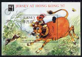 Jersey 1997 Chinese New Year - Year of the Ox perf m/sheet unmounted mint with Hong Kong 97 imprint, as SG MS 768
