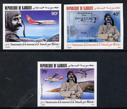 Djibouti 1984 Bleriot Anniversary imperf set of 3 as SG 925-27