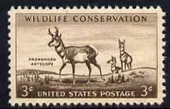 United States 1956 Wild Life Conservation 3c Antelope unmounted mint, SG 1080, stamps on animals, stamps on
