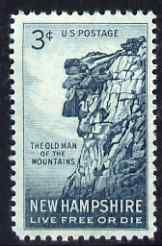 United States 1955 'The Old Man of the Mountain' 3c unmounted mint, SG 1070