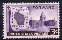 United States 1948 Centenary of Statehood of Wisconsin 3c unmounted mint, SG 954