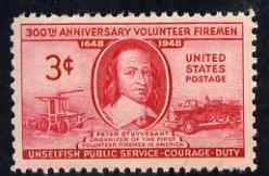 United States 1948 300th Anniversary of Organization of Volunteer Firemen 3c unmounted mint, SG 968
