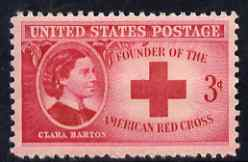 United States 1948 Honouring Clara Barton (founder of US Red Cross) 3c unmounted mint, SG 964