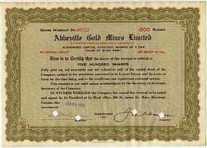 Abbeville Gold Mines Ltd share certificate (500 shares) dated Jan 29 1938 (size 11x8)