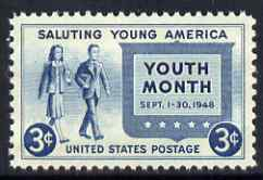 United States 1948 Salute to Youth 3c unmounted mint, SG 960