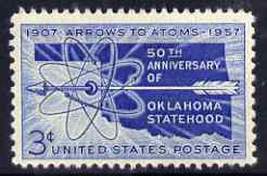 United States 1957 50th Anniversary of Oklahoma Statehood 3c unmounted mint, SG 1094