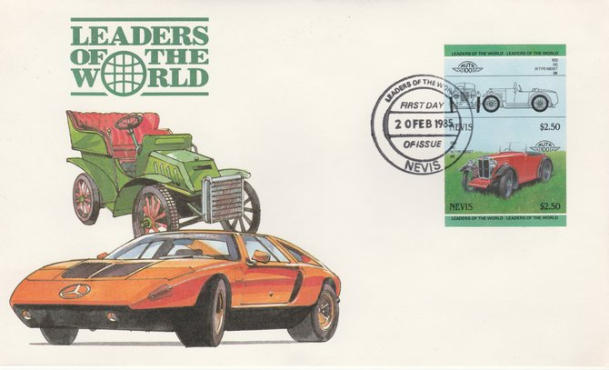 Nevis 1985 $2.50 MG Midget (1930) imperf se-tenant pair on illustrated cover with first day cancel (as SG 261a) very few imperfs are known on cover