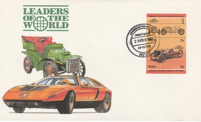Nevis 1985 75c Ford 999 (1904) imperf se-tenant pair on illustrated cover with first day cancel (as SG 259a) very few imperfs are known on cover