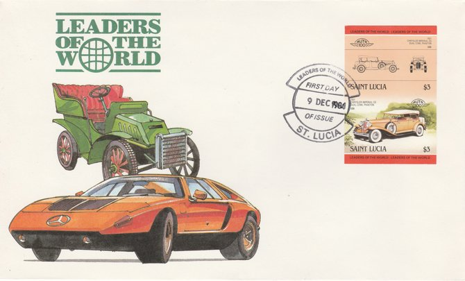St Lucia 1984 Cars #2 (Leaders of the World) $3 Chrysler Imperial (1931) imperf se-tenant pair on illustrated cover with first day cancel (as SG 759a) very few imperfs are known on cover