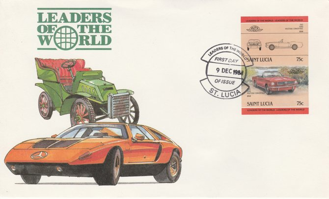 St Lucia 1984 Cars #2 (Leaders of the World) 75c Ford Mustang (1965) imperf se-tenant pair on illustrated cover with first day cancel (as SG 753a) very few imperfs are known on cover