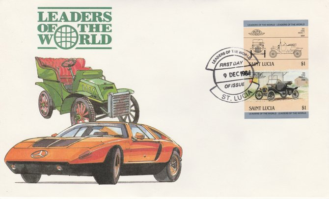 St Lucia 1984 Cars #2 (Leaders of the World) $1 Ford Model 'T' (1914) imperf se-tenant pair on illustrated cover with first day cancel (as SG 755a) very few imperfs are known on cover