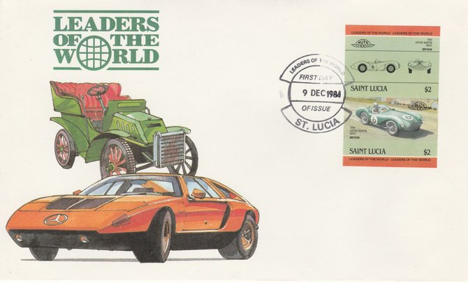 St Lucia 1984 Cars #2 (Leaders of the World) $2 Aston Martin DB3S (1954) imperf se-tenant pair on illustrated cover with first day cancel (as SG 757a) very few imperfs are known on cover