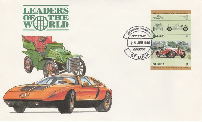 St Lucia 1984 Cars #1 (Leaders of the World) $1 Alfa Romeo (1930) imperf se-tenant pair on illustrated cover with first day cancel (as SG 707a) very few imperfs are known on cover