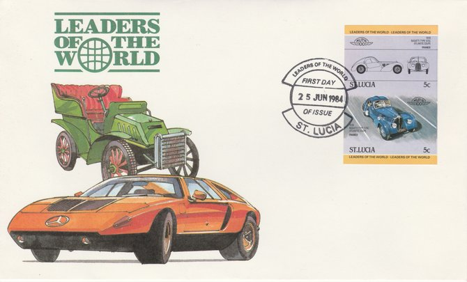 St Lucia 1984 Cars #1 (Leaders of the World) 5c Bugatti Type 57SC (1939) imperf se-tenant pair on illustrated cover with first day cancel (as SG 703a) very few imperfs are known on cover