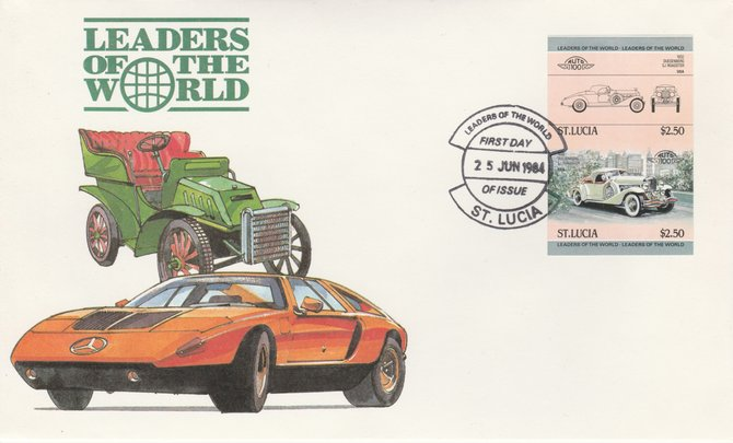 St Lucia 1984 Cars #1 (Leaders of the World) $2.50 Duesenberg 1932 SJ Roadster imperf se-tenant pair on illustrated cover with first day cancel (as SG 709a) very few imperfs are known on cover
