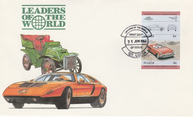 St Lucia 1984 Cars #1 (Leaders of the World) 10c Chevrolet Bel Air 1957 imperf se-tenant pair on illustrated cover with first day cancel (as SG 705a) very few imperfs are known on cover