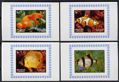 Sharjah 1972 Fish (2nd issue) complete set of 4 individual imperf deluxe sheets unmounted mint, as Mi 1200-03