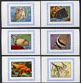 Sharjah 1972 Fish (1st issue) complete set of 6 individual imperf deluxe sheets unmounted mint, as Mi 1194-99