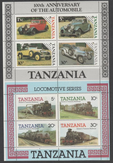 Tanzania 1985 Railways m/sheet se-tenant with 1986 Centenary of Motoring m/sheet both unmounted mint from uncut archive sheet, previously unoffered