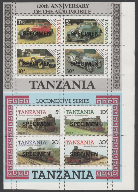 Tanzania 1985 Railways m/sheet se-tenant with 1986 Centenary of Motoring m/sheet both unmounted mint with perforations doubled, from uncut archive sheet, previously unoffered