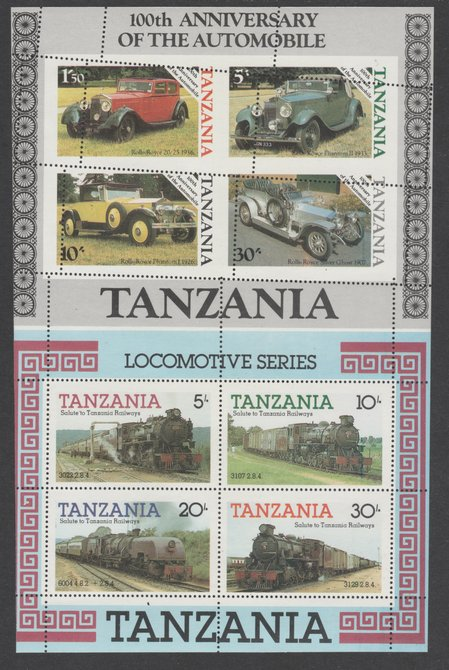 Tanzania 1985 Railways m/sheet se-tenant with 1986 Centenary of Motoring m/sheet both unmounted mint with various misplaced perforation strikes, from uncut archive sheet, previously unoffered