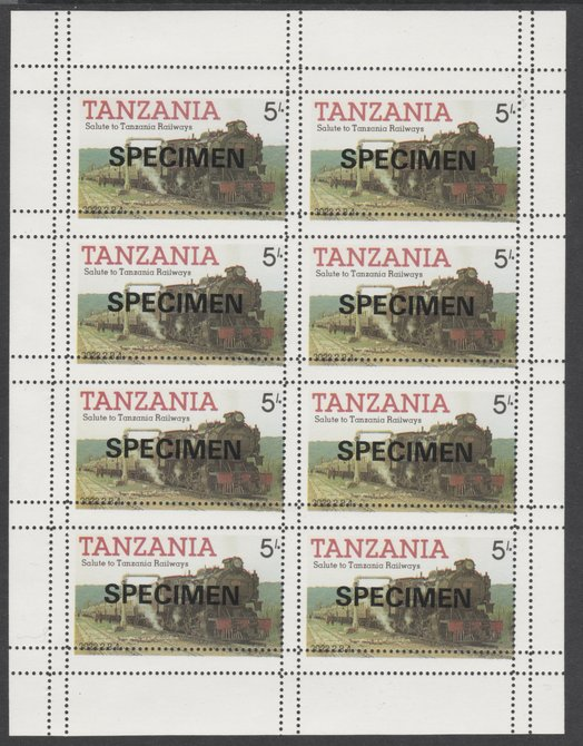 Tanzania 1985 Railways 5s in complete SPECIMEN sheet of 8 with double perforations, ex archives, slight soiling