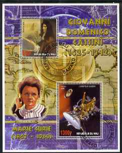 Mali 2006 Giovanni Cassini perf m/sheet containing 2 values (also showing Marie Curie) cto used