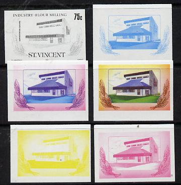 St Vincent 1985 Flour Milling 75c set of 6 imperf progressive proofs comprising the 4 individual colours plus 2 and 3-colour composites (as SG 930) unmounted mint