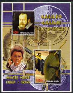 Mali 2006 Galileo Galilei perf m/sheet containing 2 values (also showing Marie Curie) cto used