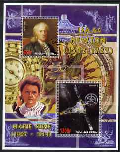 Mali 2006 Isaac Newton perf m/sheet containing 2 values (also showing Marie Curie) cto used
