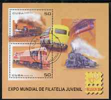 Cuba 2006 Belgica 06 Stamp Exhibition (Railways) perf m/sheet fine cto used