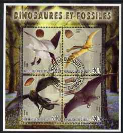 Djibouti 2006 Dinosaurs & Fossils #2 perf sheetlet containing set of 4 fine cto used