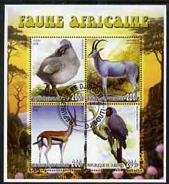 Djibouti 2006 African Fauna perf sheetlet containing set of 4 fine cto used