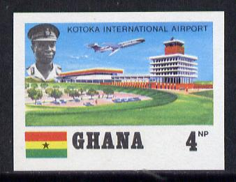 Ghana 1970 Kotoka Airport 4np (VC-10) imperf proof on unwatermark gummed paper ex De La Rue archives unmounted mint, as SG 564*