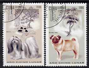 Cuba 2006 Chinese New Year - Year of the Dog perf set of 2 fine cto used SG 4914-5, stamps on dogs, stamps on lunar, stamps on lunar new year