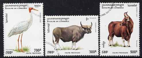 Cambodia 1995 Protected Animals complete set of 3 cto used, SG 1451-53