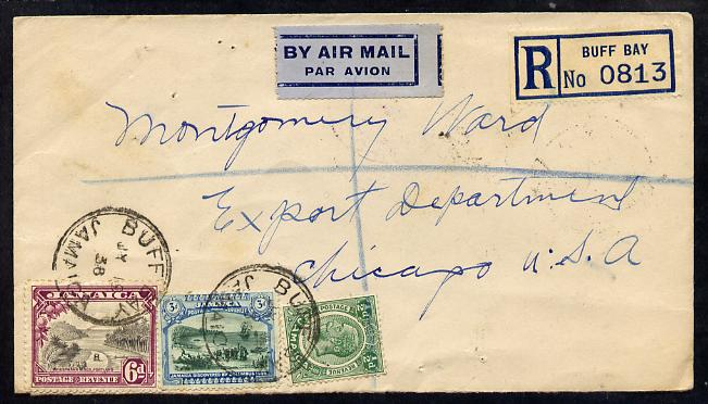 Jamaica 1938 Registered cover to USA cancelled Buff bay, b/stamped Chicago