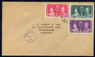 Newfoundland 1937 KG6 Coronation set of 3 on cover with first day cancel addressed to the forger, J D Harris.  Harris was imprisoned for 9 months after Robson Lowe exposed him for applying forged first day cancels to Coronation covers (details supplied).