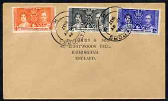 Malaya - Straits Settlements 1937 KG6 Coronation set of 3 on cover with first day cancel addressed to the forger, J D Harris.  Harris was imprisoned for 9 months after Ro...