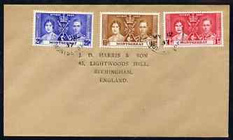 Montserrat 1937 KG6 Coronation set of 3 on cover with first day cancel addressed to the forger, J D Harris.  Harris was imprisoned for 9 months after Robson Lowe exposed him for applying forged first day cancels to Coronation covers (details supplied).