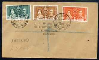 Trinidad & Tobago 1937 KG6 Coronation set of 3 on reg cover with first day cancel addressed to the forger, J D Harris.  Harris was imprisoned for 9 months after Robson Lo...