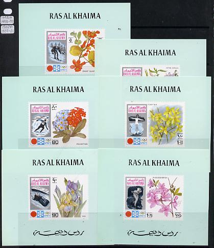 Ras Al Khaima 1972 Flowers (Winter Olympics) set of 6 individual deluxe miniature sheets unmounted mint as Michel 607-12, stamps on flowers  olympics    sport