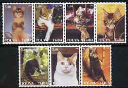 Touva 2001 Domestic Cats perf set of 7 values complete unmounted mint