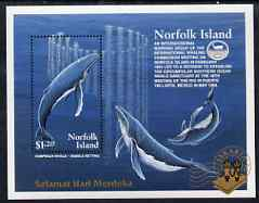 Norfolk Island 1995 Jakarta 95 Stamp Exhibition opt on Whales m/sheet unmounted mint SG MS595