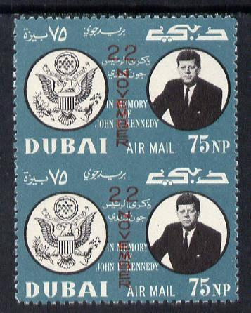 Dubai 1964 Kennedy Death Anniversary (22 Nov) 75np unmounted mint pair imperf between (as SG 133)*