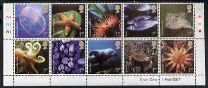Great Britain 2007 Sea life perf set of 10 values unmounted mint SG 2699a