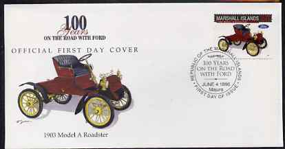 Marshall Islands 1996 Centenary of Ford Cars - 1903 Model A Roadster on illustrated cover with special first day cancel, SG 714